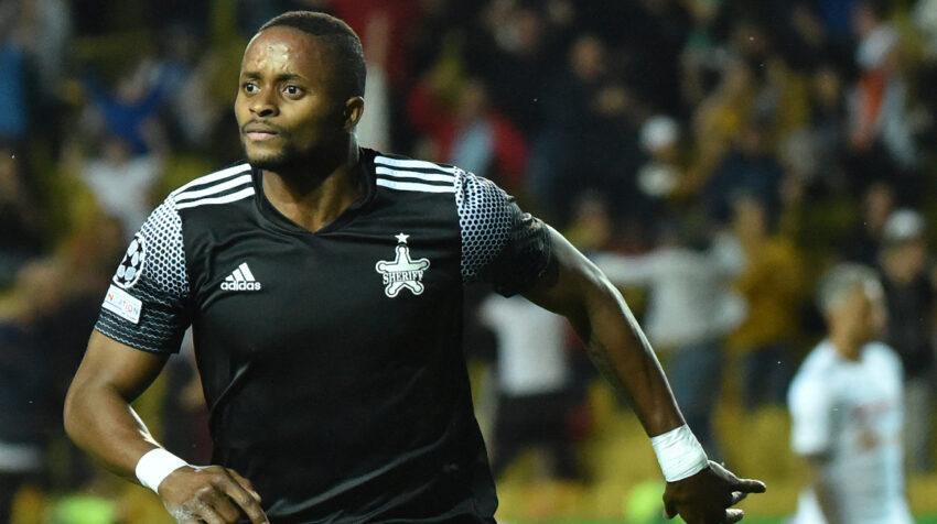 Adama Traoré, del Sheriff, celebrando su gol ante el Shakhtar Donestk, el 15 de septiembre de 2021.