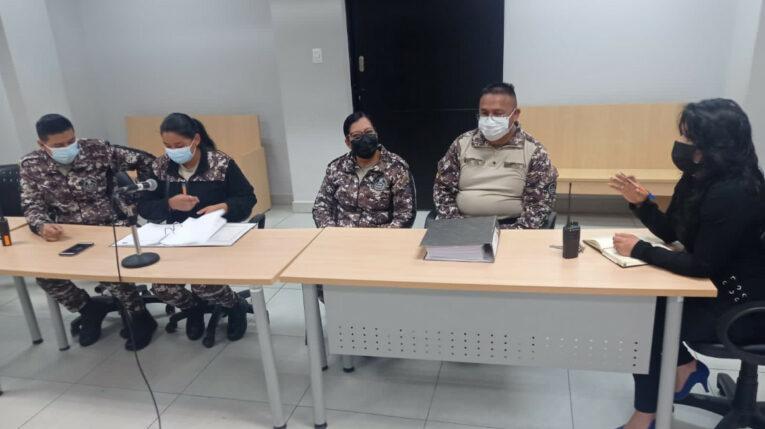 Miembros del Cuerpo de Vigilancia y Seguridad, durante una reunión de trabajo en Ambato, a inicios de octubre de 2021.