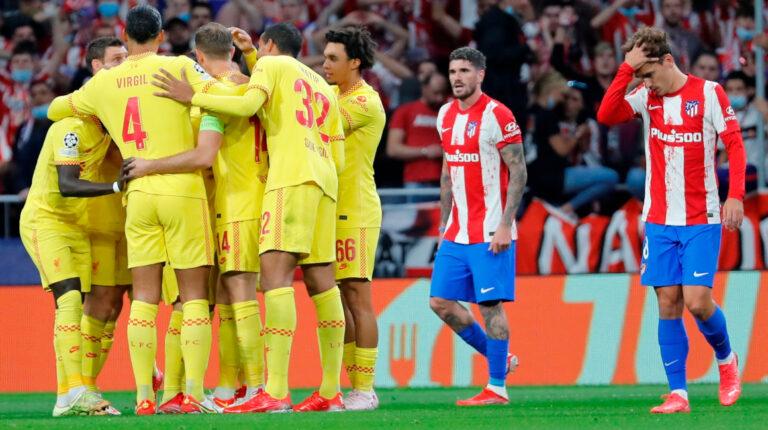 Liverpool vence al Atlético de Madrid y es líder del Grupo B de la Champions